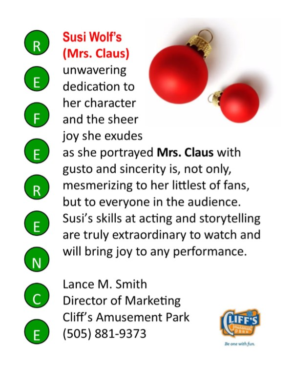 Mrs. Claus Cliff Reference Letter